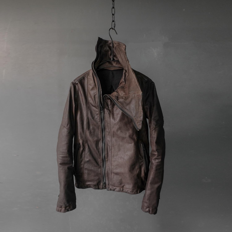 男士修身皮衣 XIACHI复古做旧日系真皮皮衣短款牛皮修身男装外套高领皮夹克棕色_推荐淘宝好看的男修身皮衣