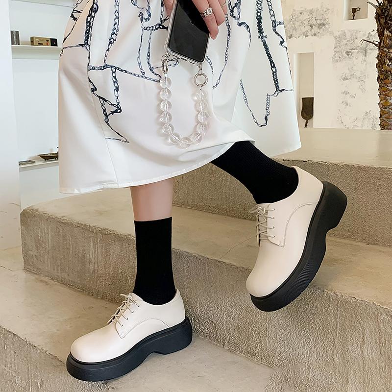 绿色松糕鞋 绿色底大头皮鞋女2021新款真皮厚底系带英伦风增高松糕学院风单鞋_推荐淘宝好看的绿色松糕鞋