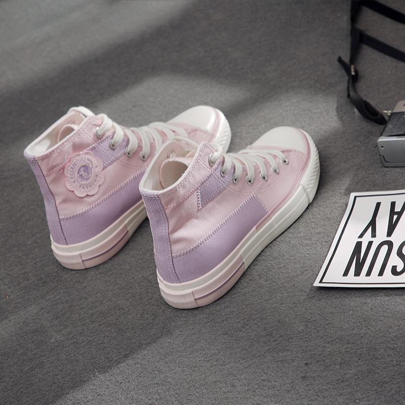 紫色高帮鞋 环球高帮帆布鞋女2020年新款春季ulzzang百搭学生粉紫色网红女鞋_推荐淘宝好看的紫色高帮鞋