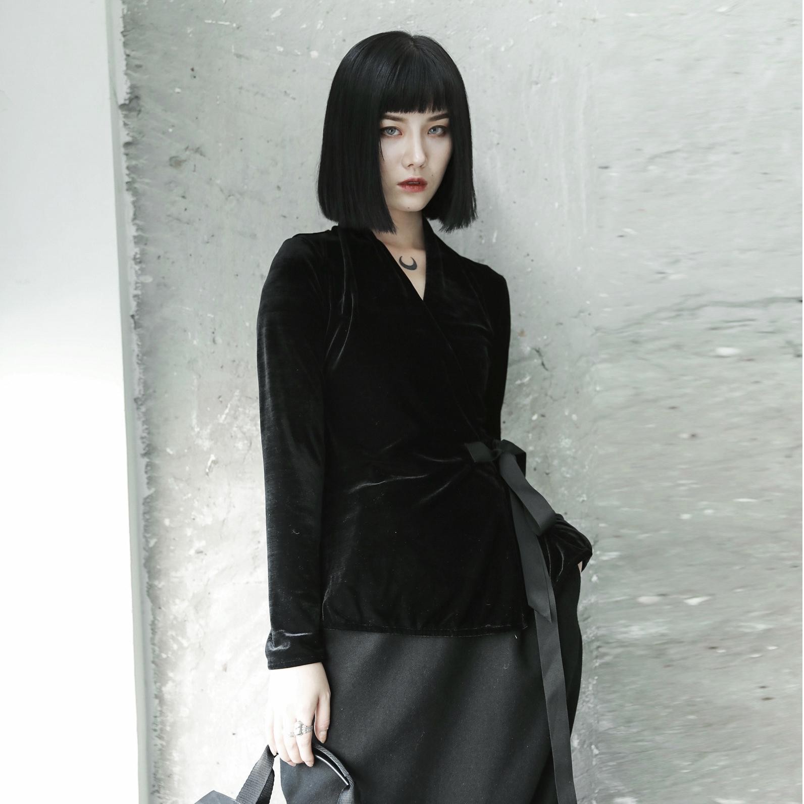 衬衫 SIMPLE BLACK 秋季ss韩国绒日式和服绑带修身显瘦长袖衬衫女_推荐淘宝好看的女衬衫