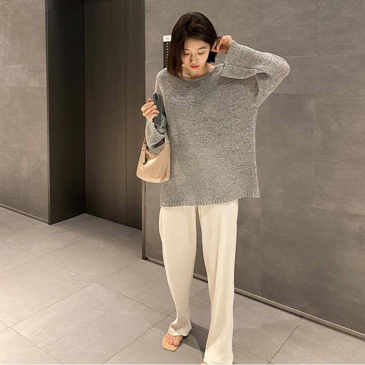 打底针织衫 韩国女装代购 宽松直筒针织衫薄款毛衣长袖打底衫G7829_推荐淘宝好看的女打底针织衫