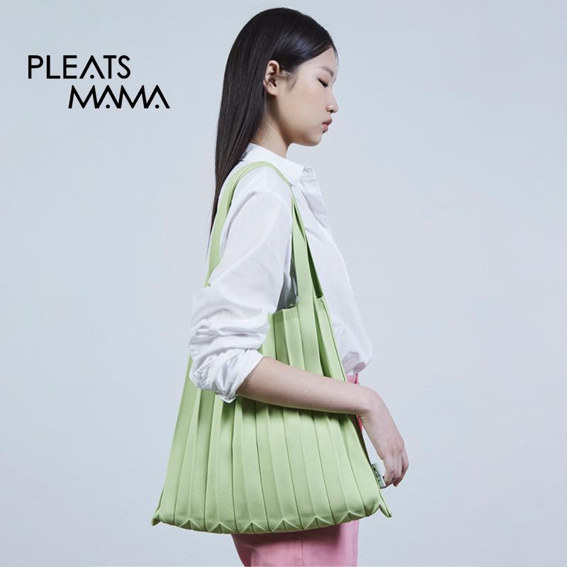 绿色糖果包 韩国PLEATSMAMA春夏新款糖果绿色单肩背包包女小清百搭购物袋便携_推荐淘宝好看的绿色糖果包