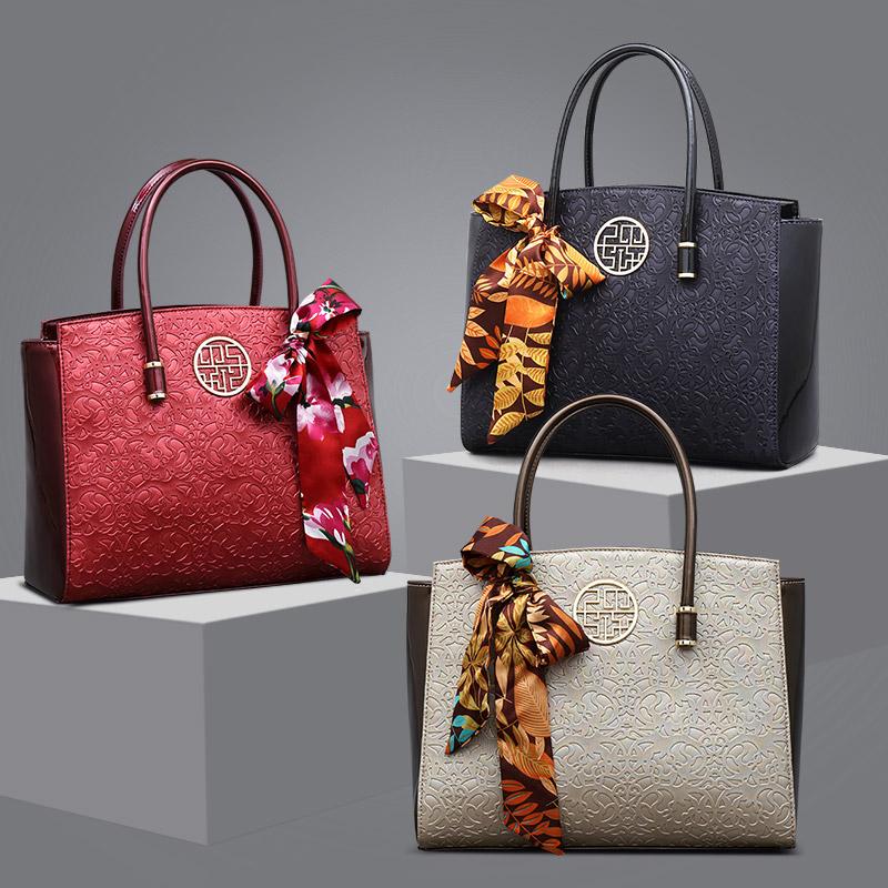 红色手提包 天煦中老年女包2020新款时尚妈妈包中年大气手提斜挎大容量包包女_推荐淘宝好看的红色手提包