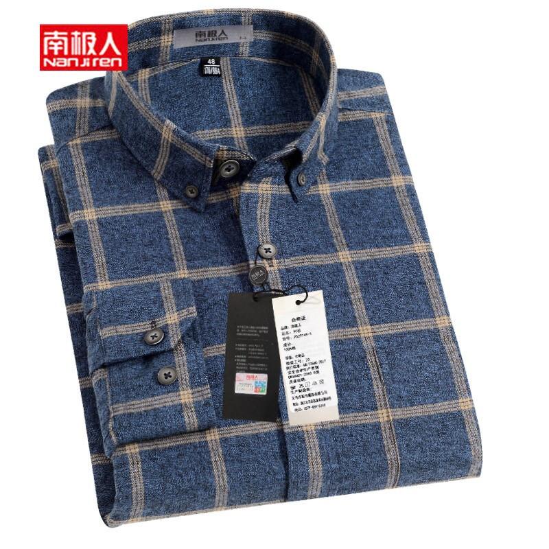 格子男式衬衫 南极人长袖衬衫男士商务休闲男装蓝色格子衬衣中年爸爸装男式寸衫_推荐淘宝好看的格子男式衬衫