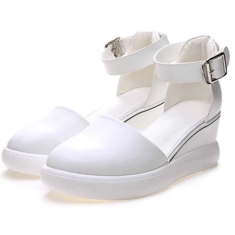 白色高跟凉鞋 高跟坡跟包脚趾白色凉鞋女2020新款夏天网红百搭包头一字搭扣女鞋_推荐淘宝好看的女白色高跟凉鞋