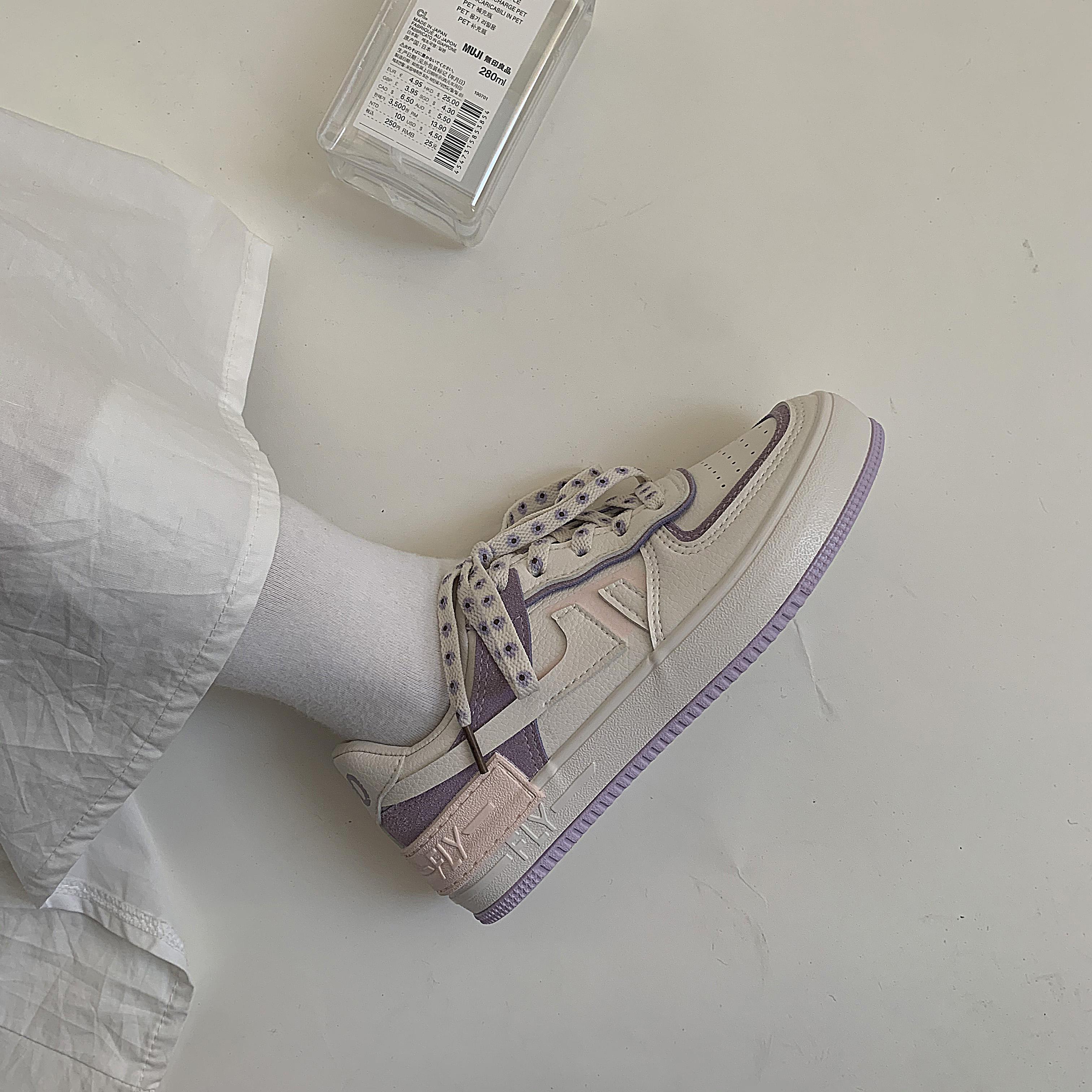 紫色运动鞋 黄洛林 鞋子女2021年夏季新款韩版怪味少女芋紫色皮面板鞋运动鞋_推荐淘宝好看的紫色运动鞋