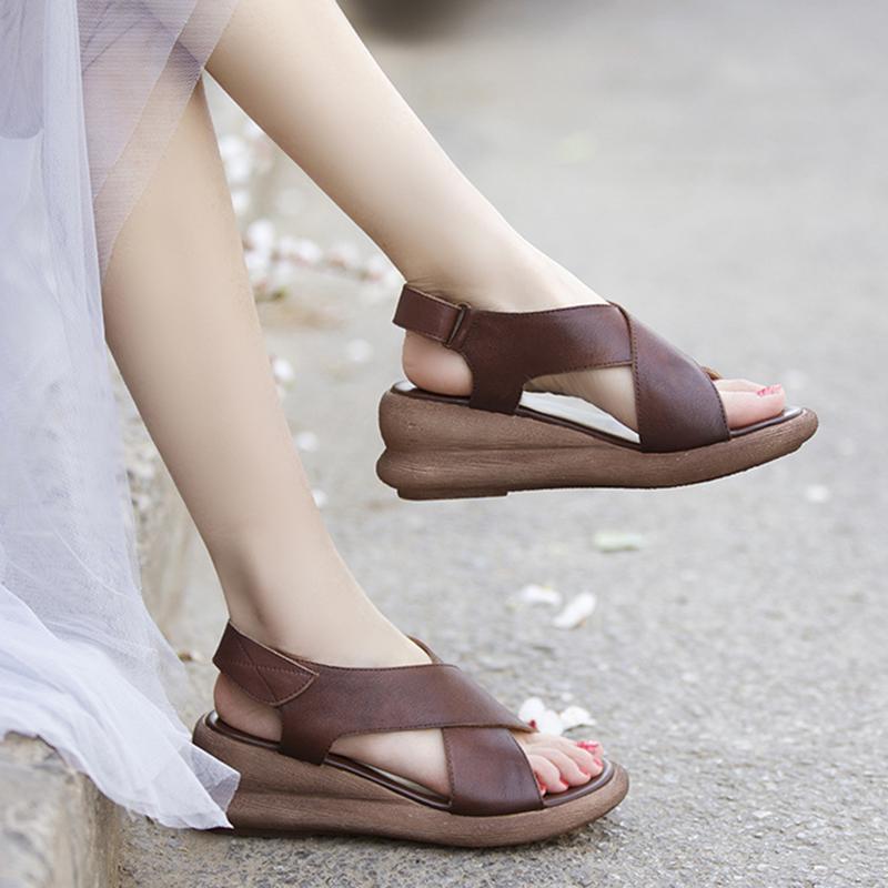 真皮松糕鞋 夏季新款手工真皮松糕跟女鞋头层牛皮坡跟厚底罗马风格露趾凉鞋_推荐淘宝好看的女真皮松糕鞋