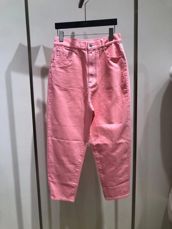 粉红色牛仔裤 雅莹春季新品女装粉红色全棉休闲牛仔裤EGFED6668A_推荐淘宝好看的粉红色牛仔裤