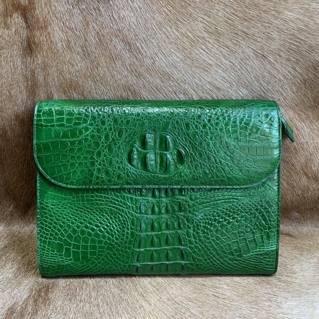 绿色信封包 高档进口泰国鳄鱼皮女包绿色女士信封夹包真皮带盖头时尚纯皮休闲_推荐淘宝好看的绿色信封包