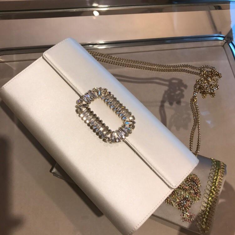白色信封包 女士包盖式白色信封包袋2020新款RV单肩斜挎翻盖真丝缎女包时尚_推荐淘宝好看的白色信封包