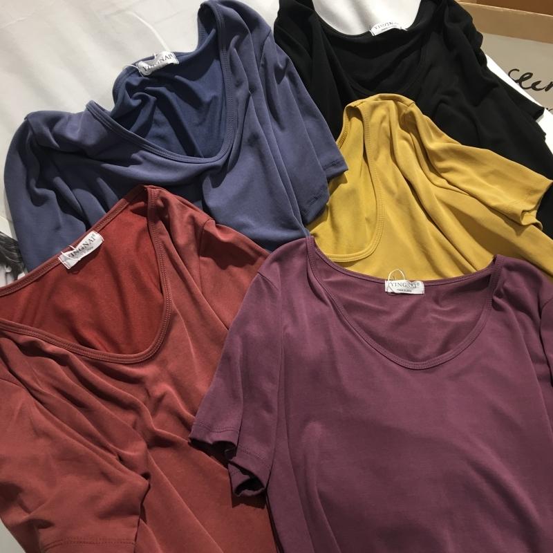 黄色T恤 超火铜氨丝紫色短袖t恤女夏百搭宽松显瘦垂感韩范黄色打底衫上衣_推荐淘宝好看的黄色T恤