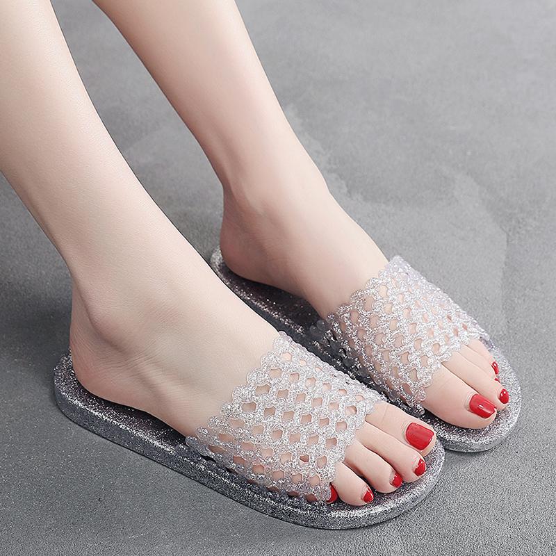 洞洞鞋 夏季水晶果冻拖鞋女室内家用浴室防滑防臭平跟平底镂空洞洞凉拖鞋_推荐淘宝好看的女洞洞鞋