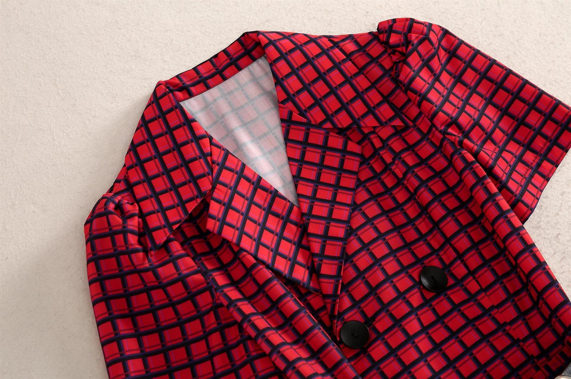 红色格子衬衫 陆妍淇明星同款高端时尚名媛气质红色格子衬衫短袖连衣裙女装夏季_推荐淘宝好看的女红色格子衬衫