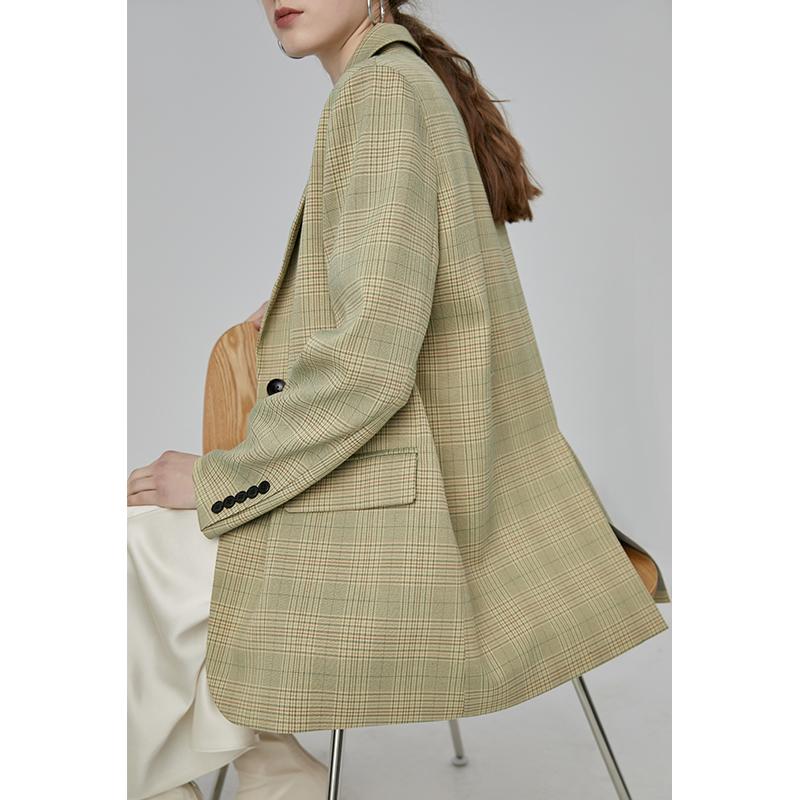 绿色小西装 范洛 2021秋季新款黄绿色复古宽松休闲格子格纹法式小西装外套女_推荐淘宝好看的绿色小西装