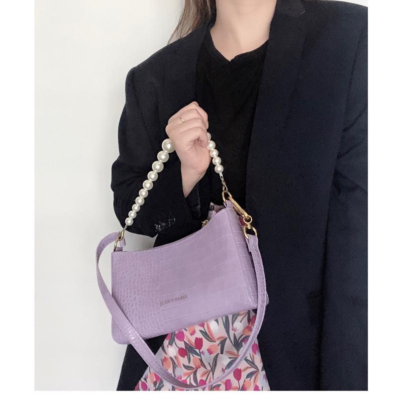 紫色链条包 韩风新品小众设计牛皮复古紫色单肩包气质珍珠链条鳄鱼纹腋下包女_推荐淘宝好看的紫色链条包