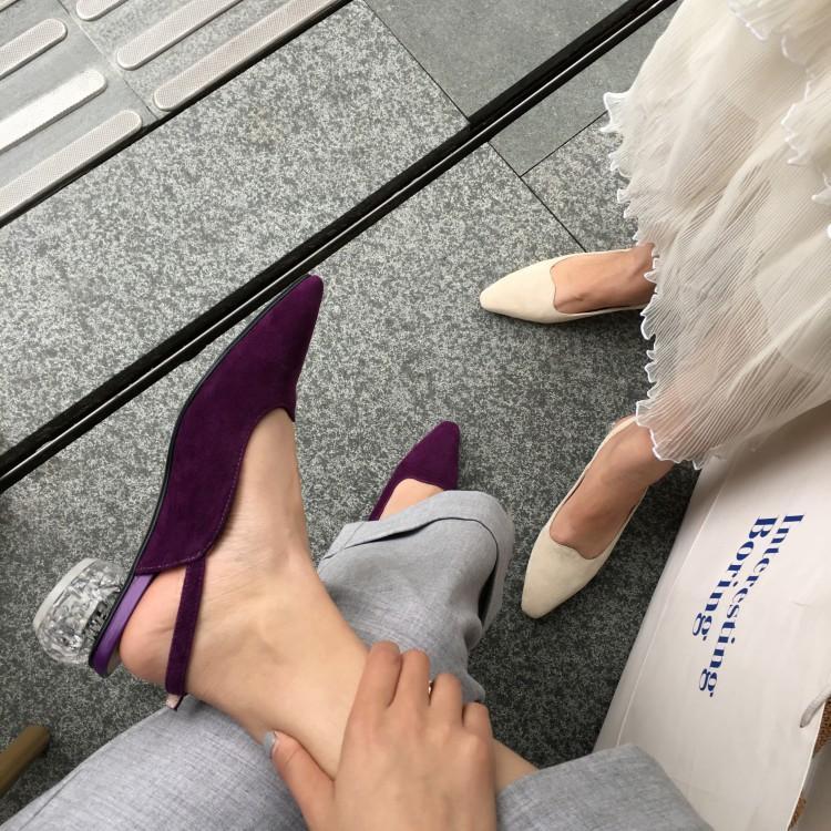 紫色凉鞋 夏季方头凉鞋粗跟圆跟中跟高跟鞋真皮凉拖鞋米白色紫色半拖女鞋子_推荐淘宝好看的紫色凉鞋