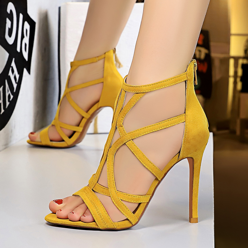 黄色罗马鞋 黄色短靴高跟凉鞋女仙女风ins潮旗袍礼服夏季高筒靴子女凉鞋罗马_推荐淘宝好看的黄色罗马鞋