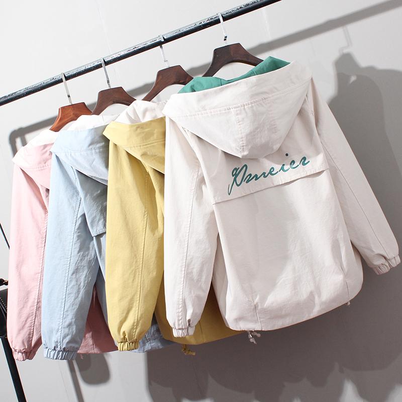 白色风衣 风衣女短款韩版宽松春秋装新款字母印花时尚撞色收摆百搭小款外套_推荐淘宝好看的白色风衣