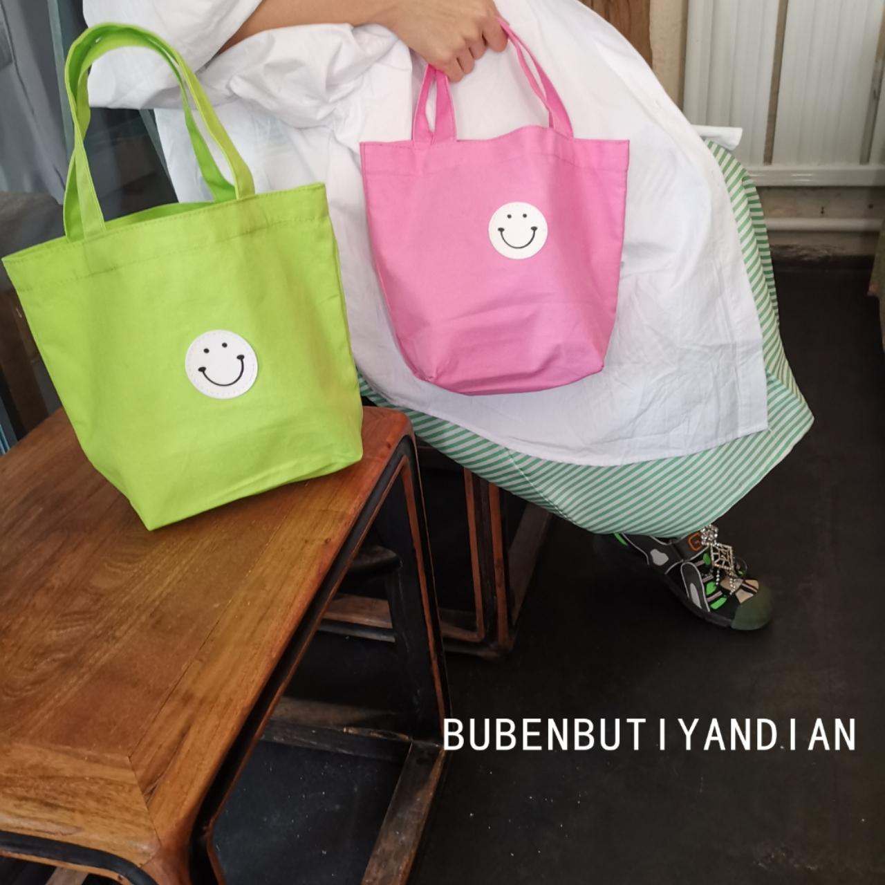 绿色糖果包 韩国东大门时尚荧光绿笑脸小手提包糖果色百搭果绿色粉色手拎包_推荐淘宝好看的绿色糖果包