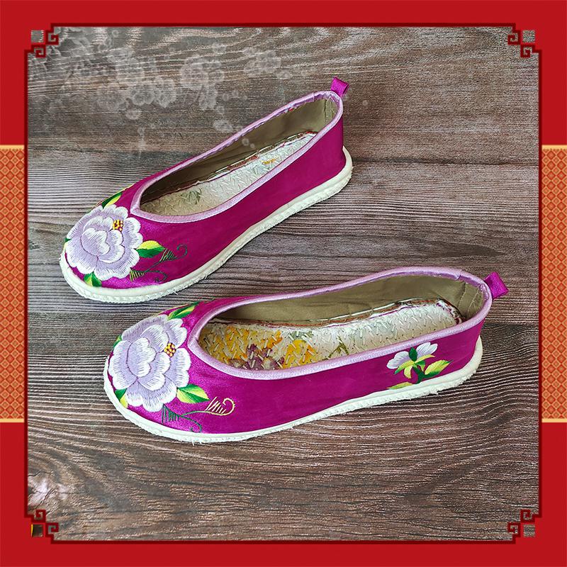 紫色单鞋 五朵金花新款绣花鞋千层底双色紫色缎面手工绣锦上添花民族风单鞋_推荐淘宝好看的紫色单鞋