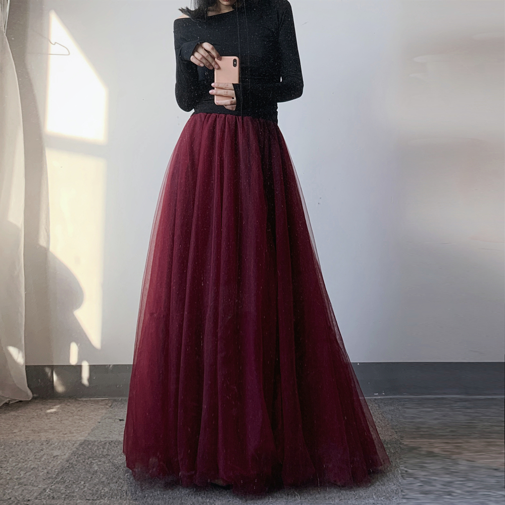 红色半身裙 多层重工超仙网纱半身裙 女夏季红色雪纺蓬蓬裙纱裙 到脚踝长裙子_推荐淘宝好看的红色半身裙