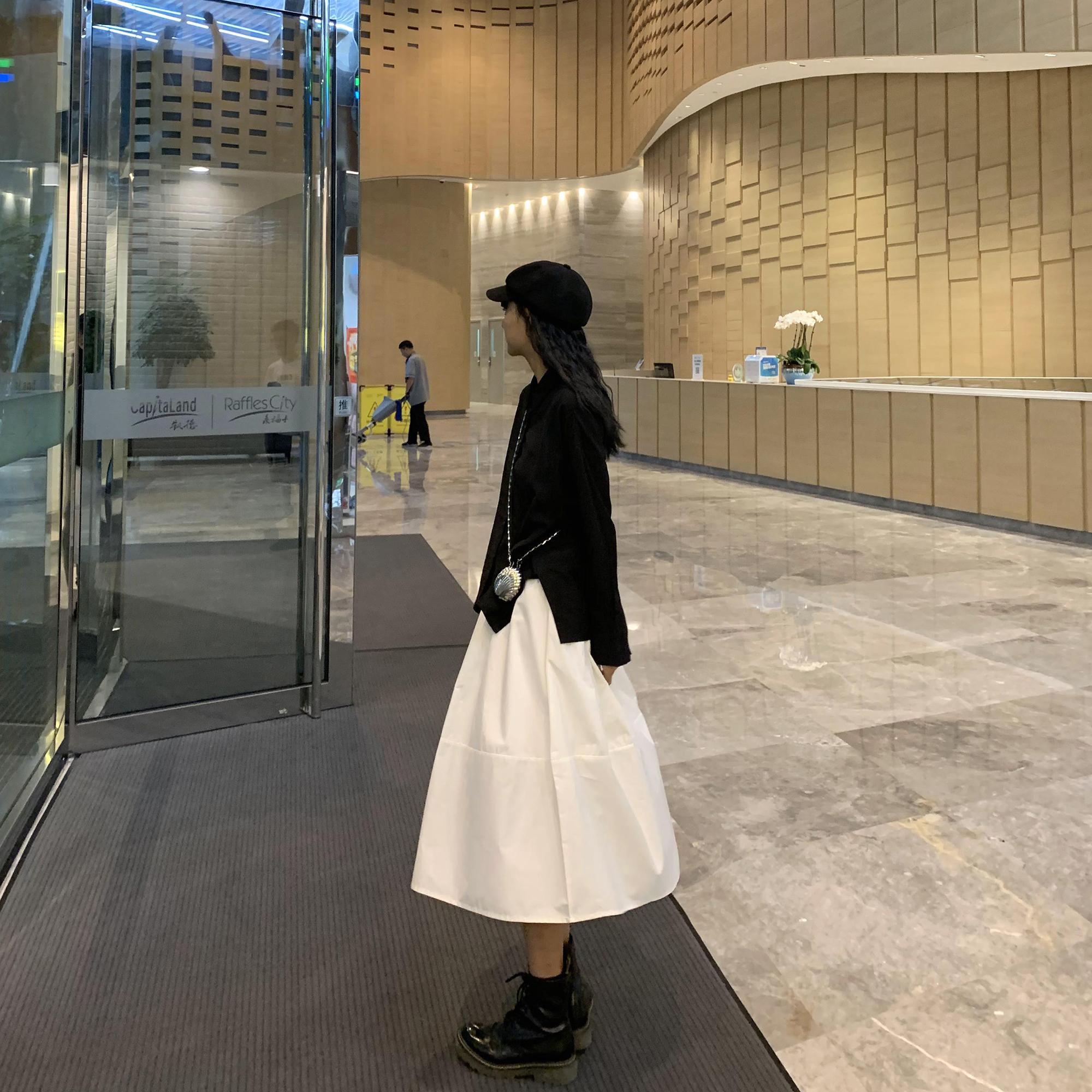白色半身裙 DDGIRL原宿风日系白色半身裙2020新款高腰韩版学生中长款A字伞裙_推荐淘宝好看的白色半身裙