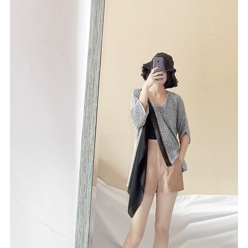 个性镂空针织衫 春夏个性不规则外套针织开衫雪纺拼接亮闪镂空网眼外搭空调衫女装_推荐淘宝好看的个性 镂空针织衫