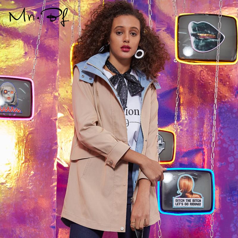 女装风衣外套 曼诺比菲2019秋季时尚女装连帽长袖拼色中长款修身风衣外套_推荐淘宝好看的女装风衣外套