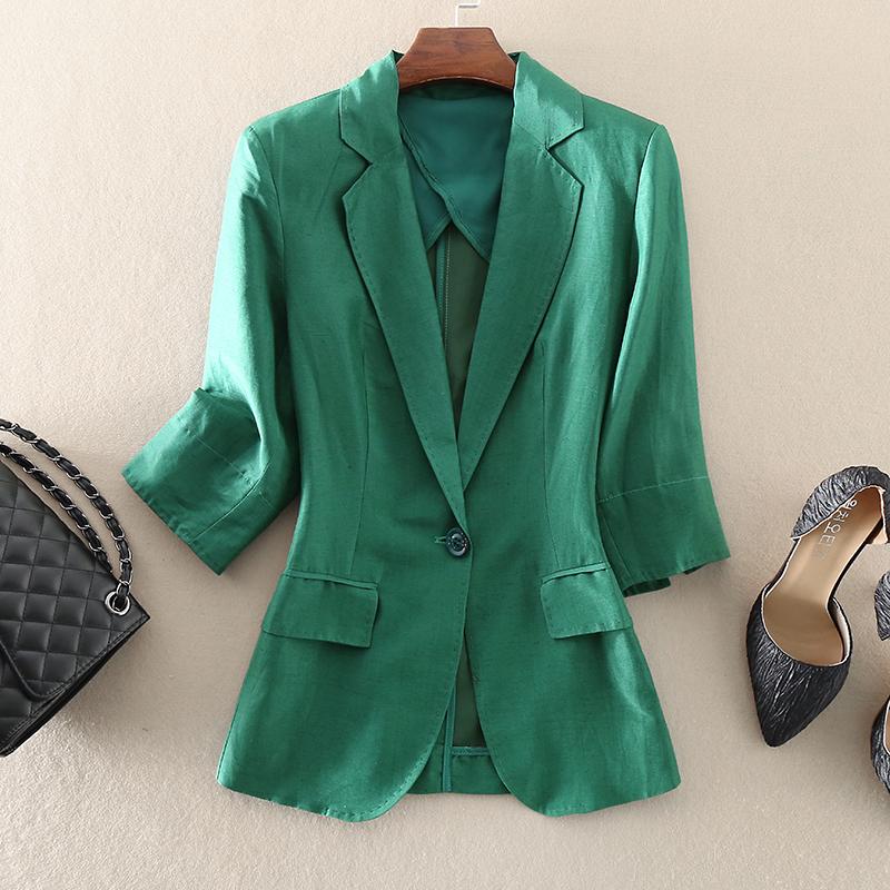 绿色小西装 2021秋装新款优雅女装修身显瘦时尚绿色七分袖真丝亚麻西装小外套_推荐淘宝好看的绿色小西装