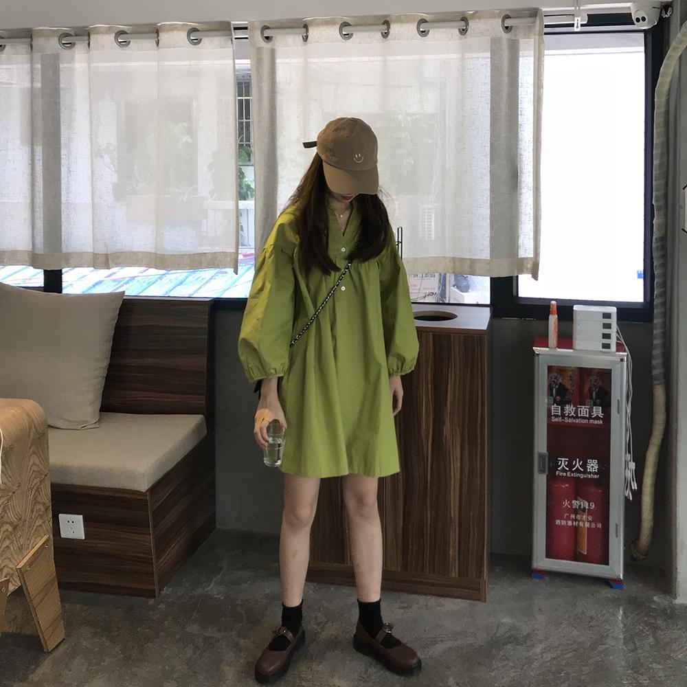 绿色连衣裙 kumayes 春夏韩版绿色长袖气质娃娃裙纯色宽松显瘦裙子V领连衣裙_推荐淘宝好看的绿色连衣裙