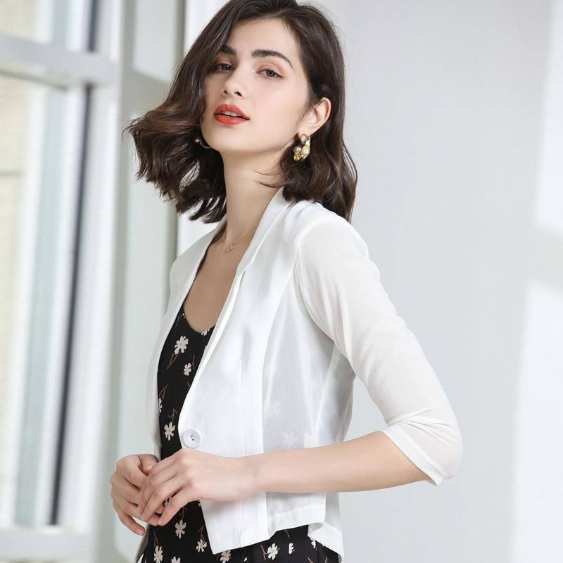 白色小西装 白色小西装外套网纱短款2021春夏新薄款职业修身女士小西服上衣女_推荐淘宝好看的白色小西装
