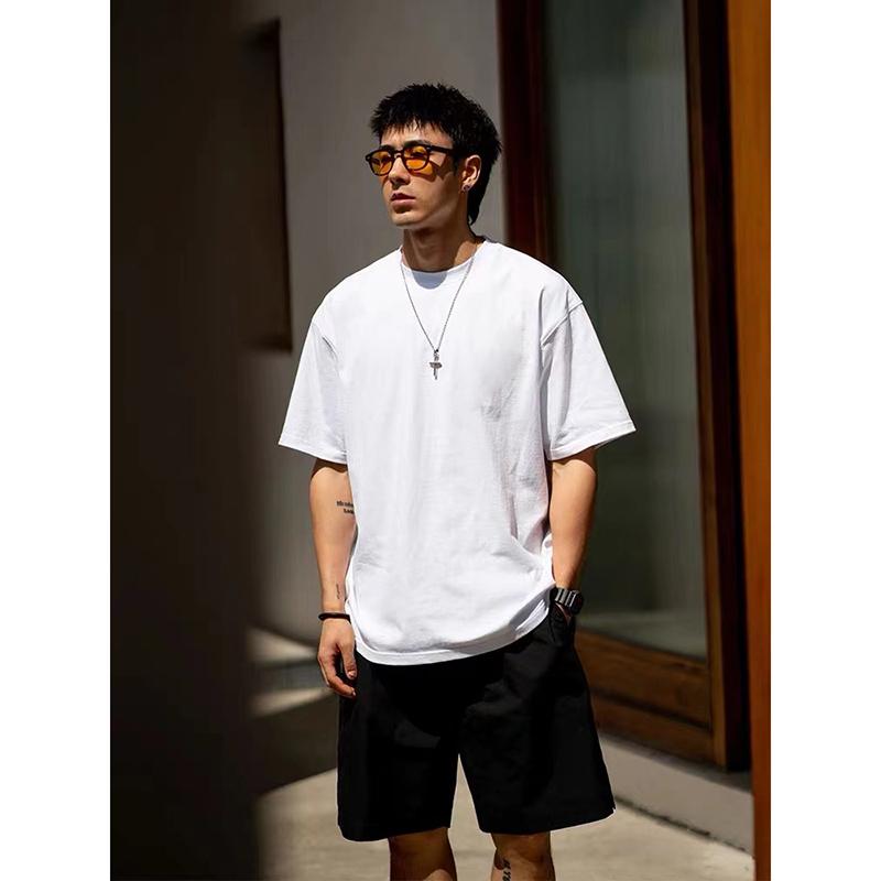 白色T恤 BDCT原创 新疆棉纯棉短袖白色T恤男潮 日系潮牌圆领体恤宽松休闲_推荐淘宝好看的白色T恤