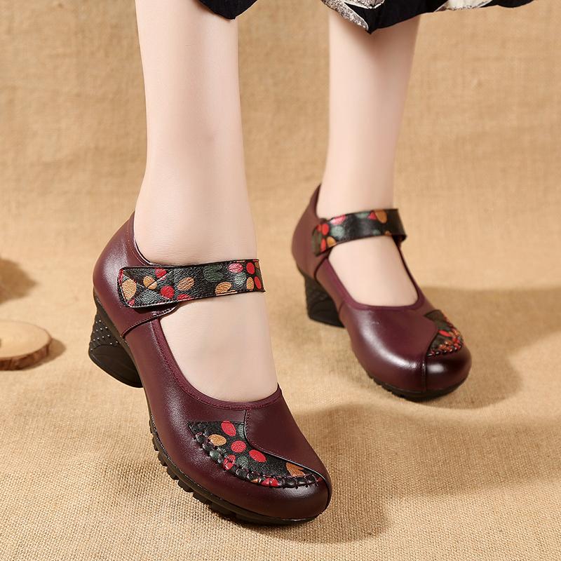 紫色单鞋 皮鞋春夏红色紫色民族风真皮复古舒适广场舞女鞋中老年单鞋妈妈鞋_推荐淘宝好看的紫色单鞋