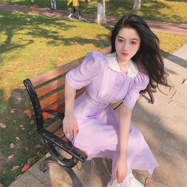 娃娃领短袖连衣裙 2020新款夏季短袖娃娃领长裙收腰波点雪纺中长款显瘦气质连衣裙女_推荐淘宝好看的娃娃领短袖连衣裙