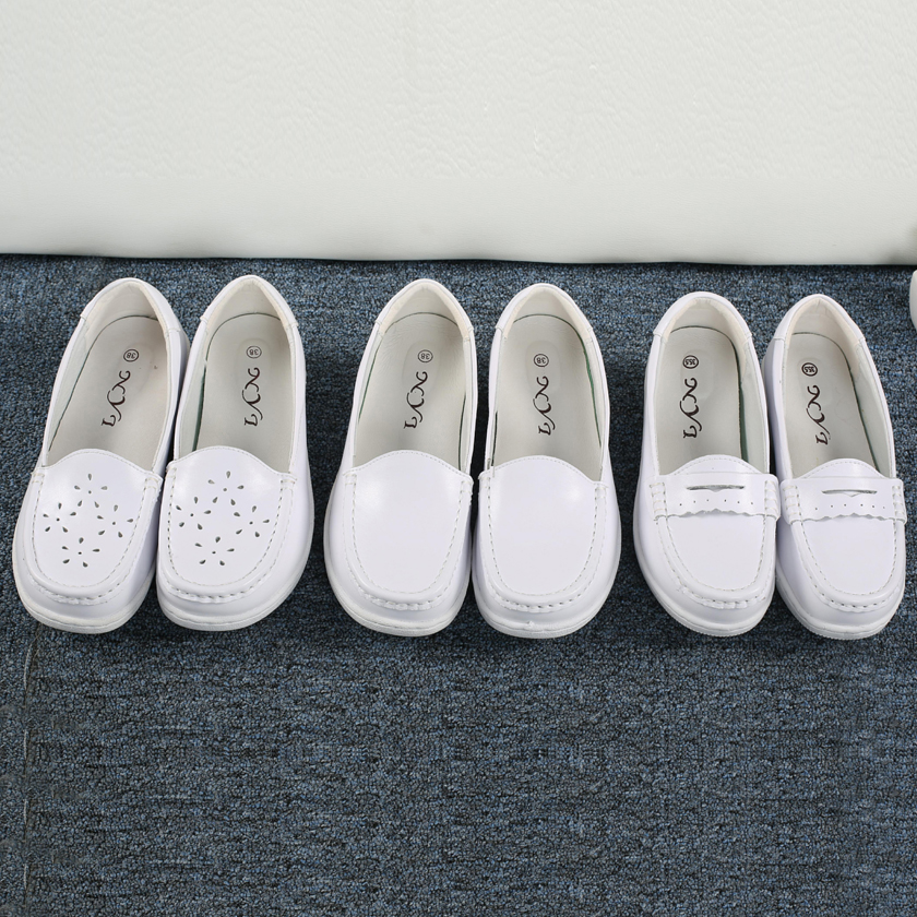 白色坡跟鞋 台湾NYI医院气垫护士鞋真皮坡跟鞋女白色软底透气平底女鞋夏季_推荐淘宝好看的白色坡跟鞋