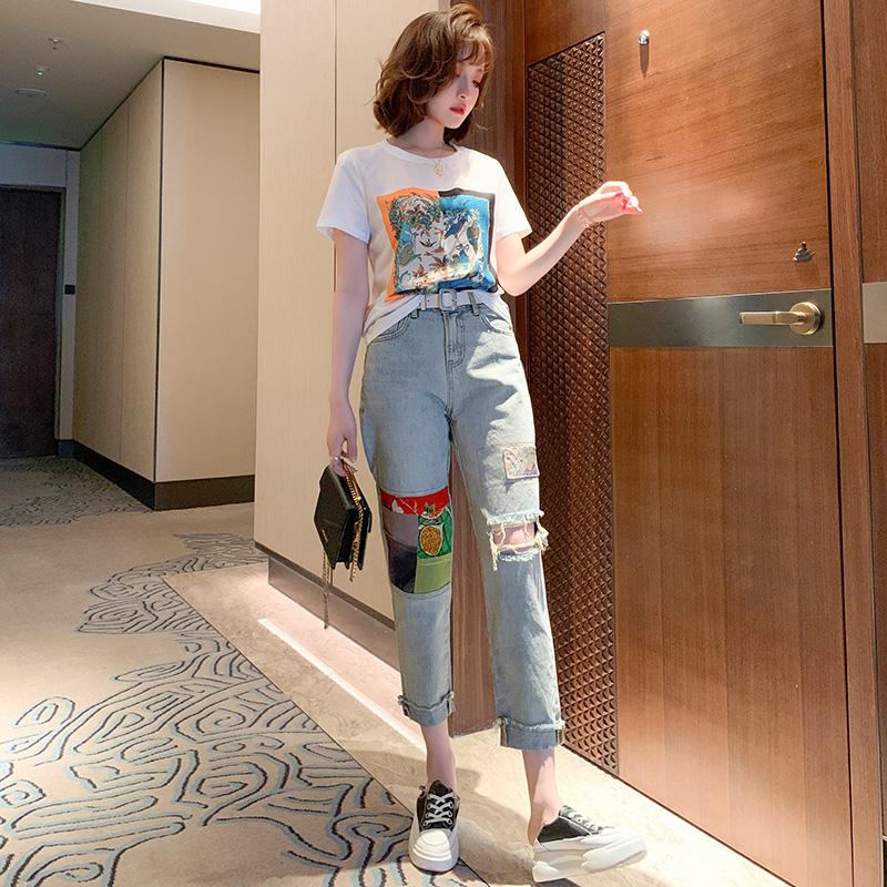 个性女装 MIUCO圆领个性印花气质短袖宽松时髦百搭T恤上衣女装2021春季新款_推荐淘宝好看的个性女装