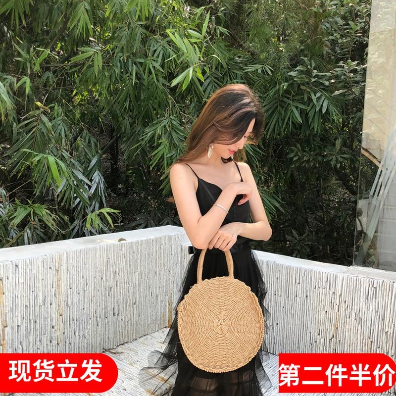 品牌连衣裙新款 仙女海边沙滩裙V领吊带网纱蛋糕裙巴厘岛度假修身连衣裙夏_推荐淘宝好看的连衣裙