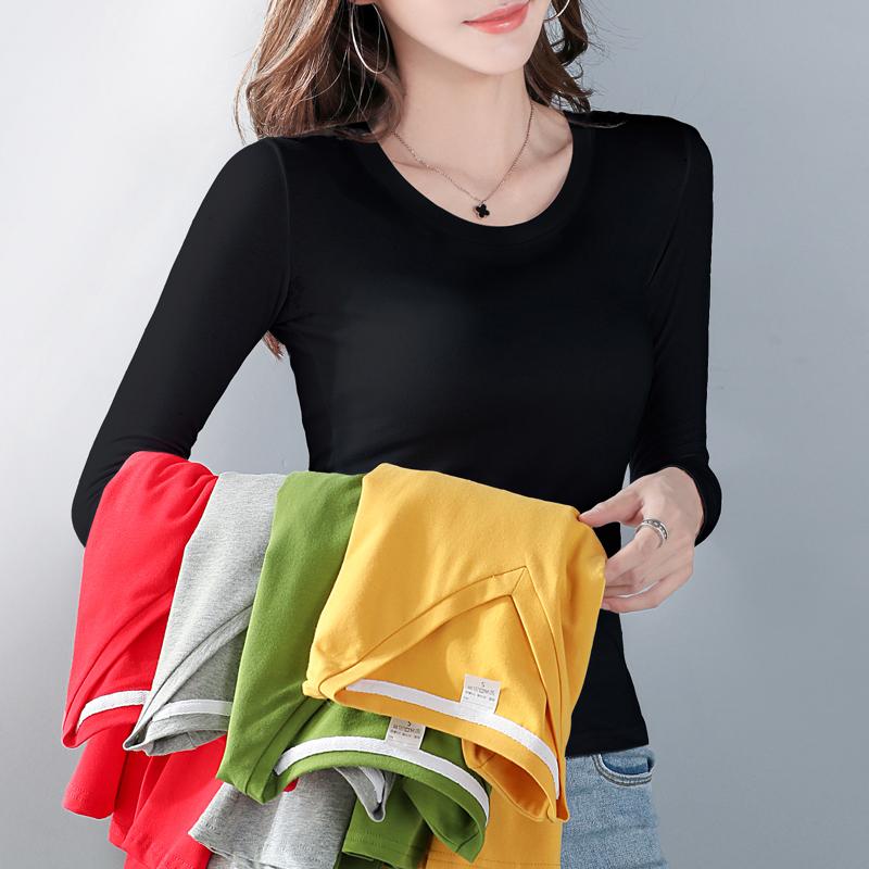 黄色T恤 加绒打底衫女士2020新款长袖t恤加厚紧身上衣服秋冬洋气保暖内搭_推荐淘宝好看的黄色T恤