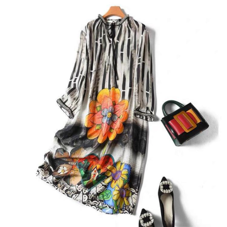 八分袖连衣裙 八分袖真丝连衣裙女装夏季新款手工钉珠桑蚕丝印花女裙q01574_推荐淘宝好看的八分袖连衣裙