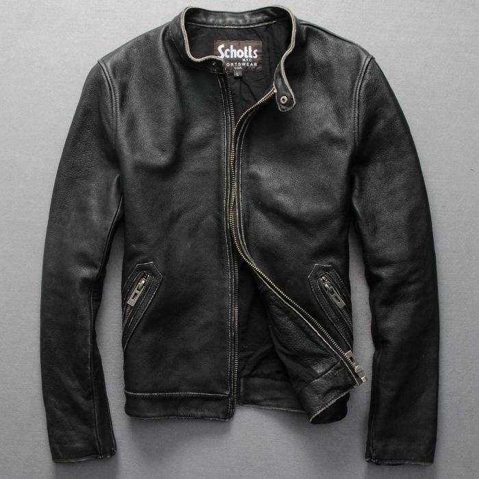 夹克 Schotts 进口小牛皮 做旧立领修身短款机车服皮夹克 男士真皮皮衣_推荐淘宝好看的男皮衣