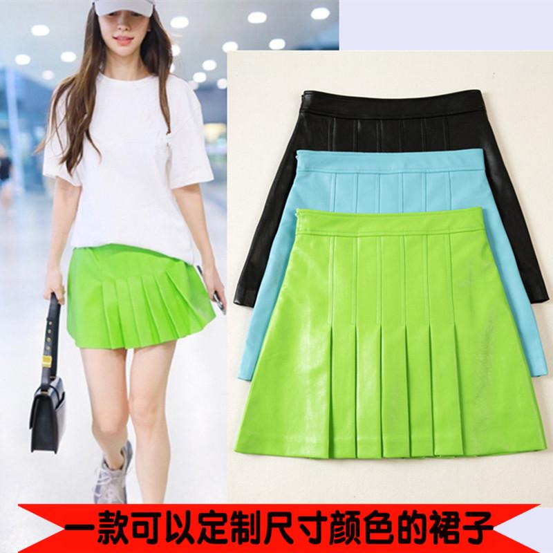 绿色半身裙 pu短裙绿色百褶皮裙女2021新款时尚 高腰气质显瘦防走光a字半身裙_推荐淘宝好看的绿色半身裙
