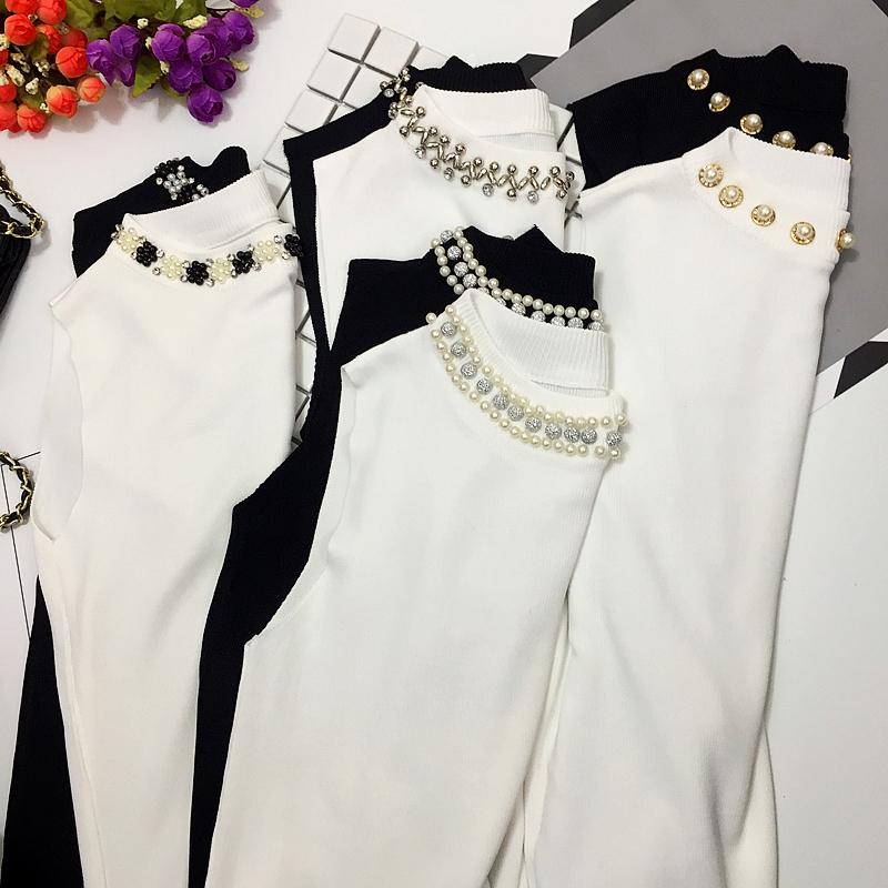 无袖t恤 钉珠冰丝针织背心女2020春装新款修身打底衫白色内搭无袖t恤上衣_推荐淘宝好看的女无袖t恤