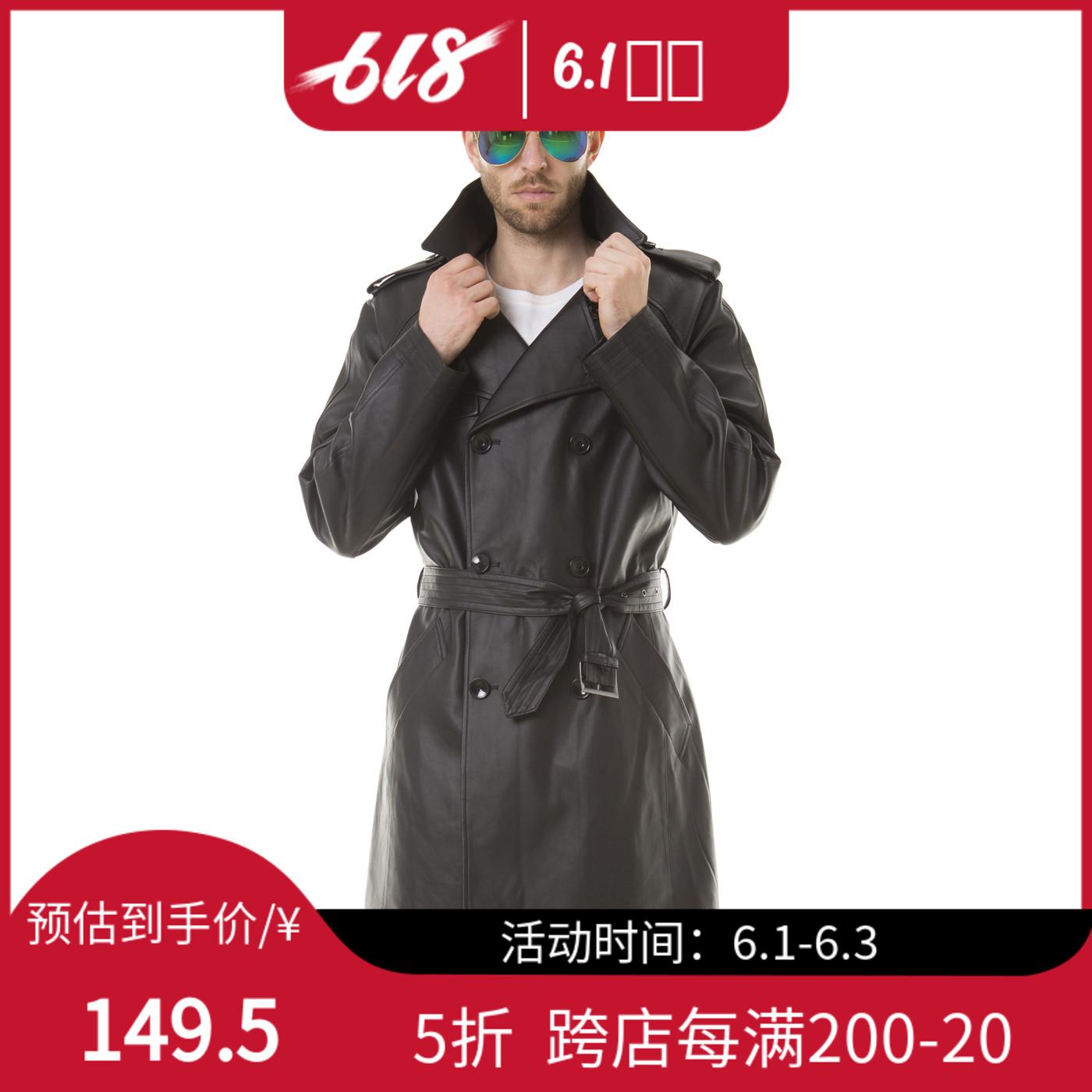 男士长款皮衣 男士明星同款中长款风衣皮衣_推荐淘宝好看的男长款皮衣