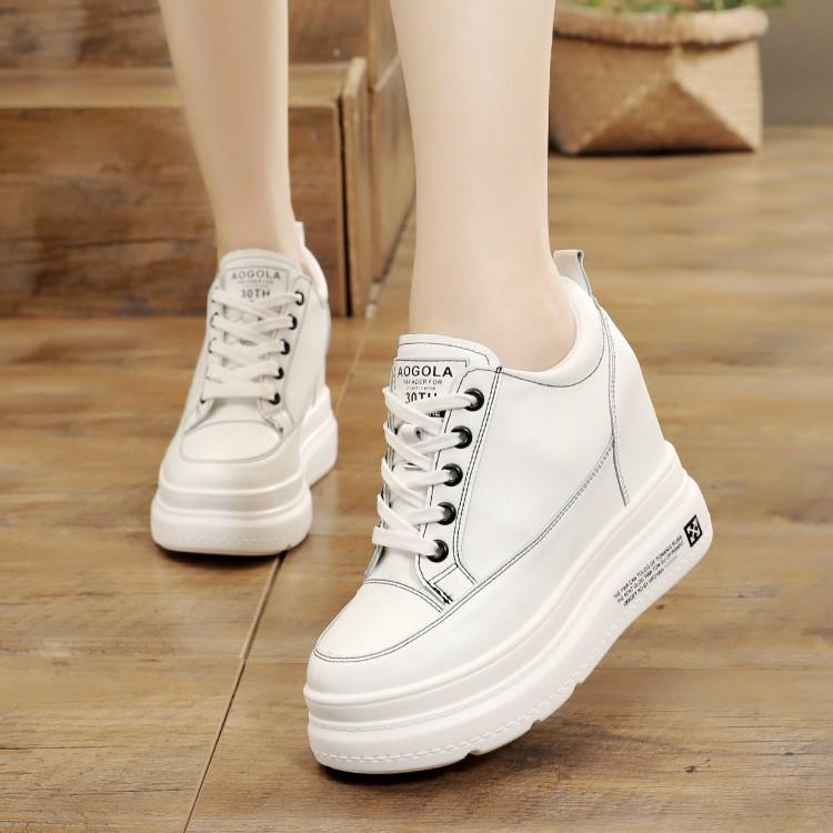 白色坡跟鞋 超高跟白色单鞋系带休闲鞋厚底10cm内增高小白鞋2020秋季坡跟女鞋_推荐淘宝好看的白色坡跟鞋