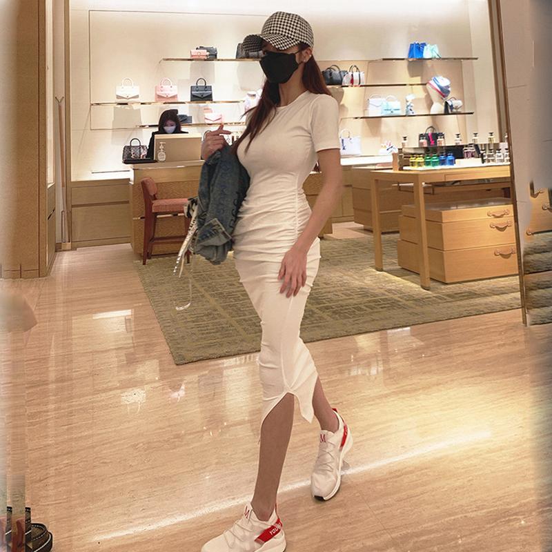 白色修身连衣裙 白色短袖连衣裙女夏收腰显瘦2020新款修身中长裙子轻熟风气质洋气_推荐淘宝好看的白色修身连衣裙