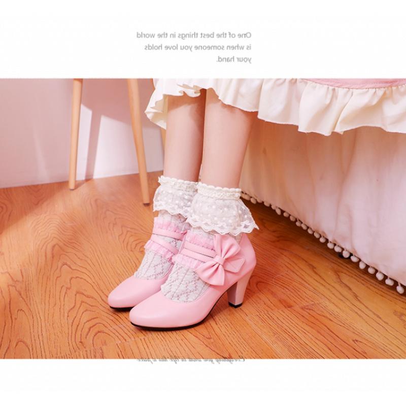 粉红色单鞋 粉红色白色鞋高跟单鞋春秋鞋女公主鞋小码3233大码女鞋40-43 DLX_推荐淘宝好看的粉红色单鞋