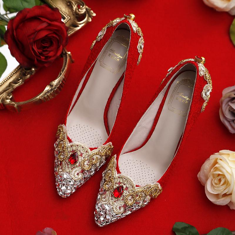 红色单鞋 2021新款红色高跟鞋水晶鞋婚鞋中式秀禾鞋女单鞋细跟鞋新娘鞋水钻_推荐淘宝好看的红色单鞋