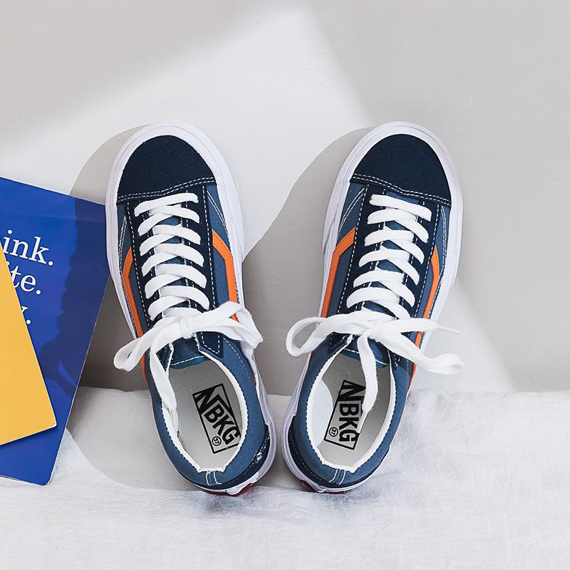 低帮帆布鞋 春季新品蓝色橙色帆布鞋女鞋复古低帮休闲学生百搭运动滑板鞋潮鞋_推荐淘宝好看的女低帮帆布鞋