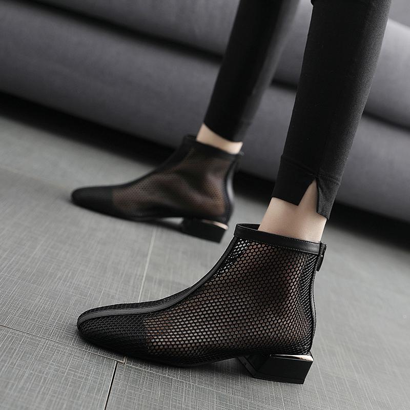 洞洞鞋 2020新款夏季真皮洞洞靴低跟百搭网纱镂空女鞋方头凉鞋女平底鞋_推荐淘宝好看的女洞洞鞋