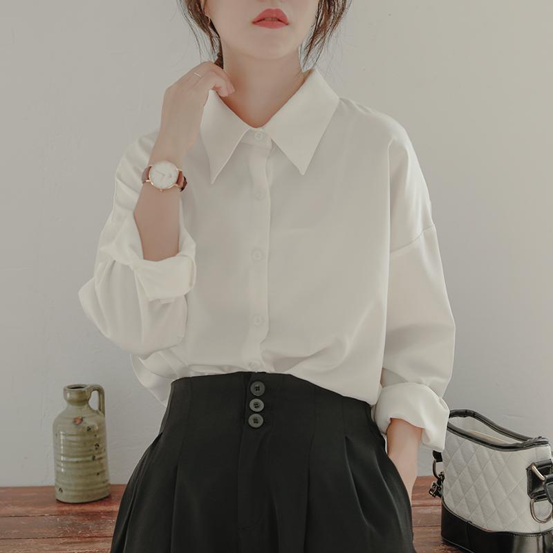 白色雪纺衫 白色衬衫女宽松设计感小众雪纺长袖百搭气质叠穿垂感百搭尖领衬衣_推荐淘宝好看的白色雪纺衫